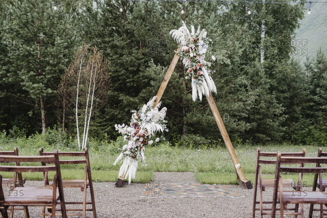 A-frame alter at a country wedding ceremony