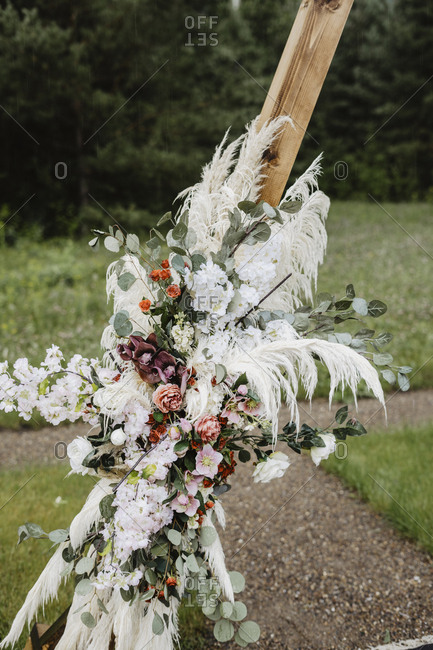 Floral arrangement at a country wedding ceremony
