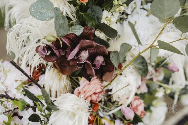 Detail of floral arrangement at a wedding ceremony