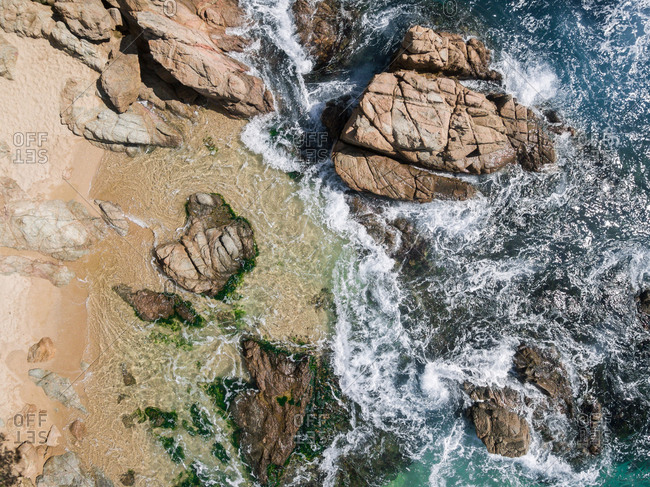 Aerial views of the Costa Brava in Spain. Photographs taken by a drone on a spring afternoon