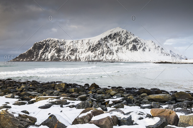 Europe, Norway, Nordland, Lofoten, Skagsanden beach, Flakstad, Flakstadoy, Ramberg, Winter Lofoten