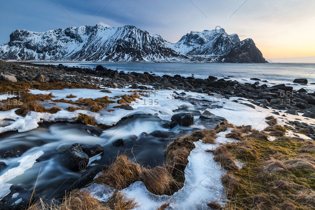 Europe, Norway, Nordland, Lofoten, Vestvagoy / Vestvagoy, Unstad, Winter Lofoten