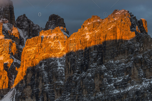 Europe, Italy, Alps, Dolomites, Mountains, View from Lagazuoi, Tofane and Gruppo di Fanis, Province of Belluno, Veneto
