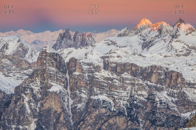 Europe, Italy, Alps, Dolomites, Mountains, View from Lagazuoi, Geislergruppe, Gruppo delle Odle