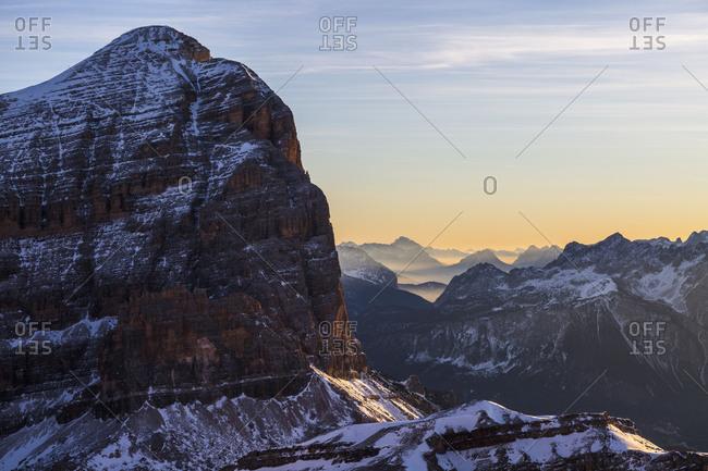 Europe, Italy, Alps, Dolomites, Mountains, View from Lagazuoi, Tofane, Province of Belluno, Veneto