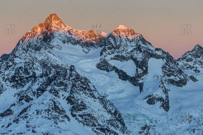 Europe, Switzerland, Valais, Zermatt, View from Gornergrat
