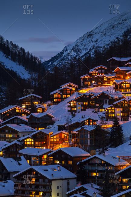 March 22, 2017: Europe, Switzerland, Valais, Zermatt, Zermatt ski resort / Zermatt village, Golden hour
