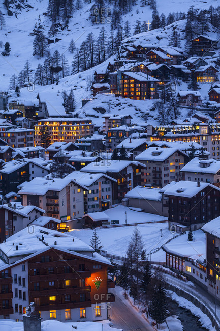 March 22, 2017: Europe, Switzerland, Valais, Zermatt, Zermatt ski resort / Zermatt village, Golden hour