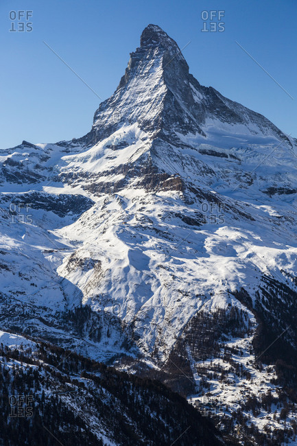 Europe, Switzerland, Valais, Zermatt, View from Blauherd against Matterhorn