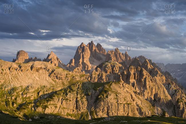 Dark clouds over Cadini di Misurina, Dolomites, Italy