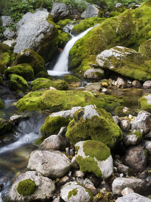 Soca, waterfall close source of the So A, Triglav national park, Julian Alps, Slovenia