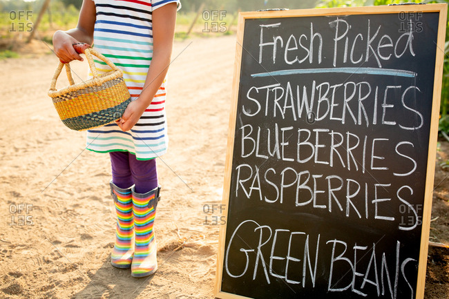 Little girl holding basket standing by chalkboard sign at a U-pick farm