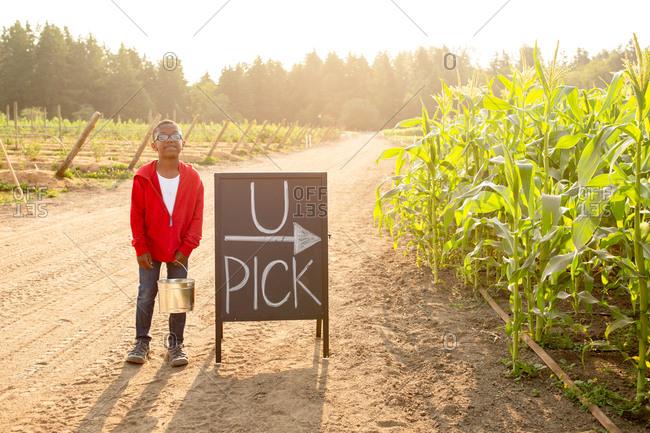 Little boy holding bucket by U-pick sign on a farm
