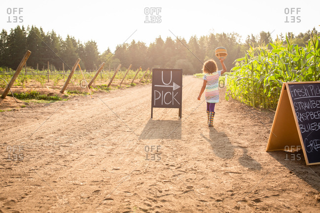 Back view of girl walking by chalkboard sign at a U-pick farm