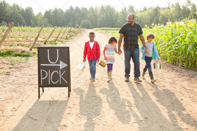 Dad and his children by sign on a U-pick farm