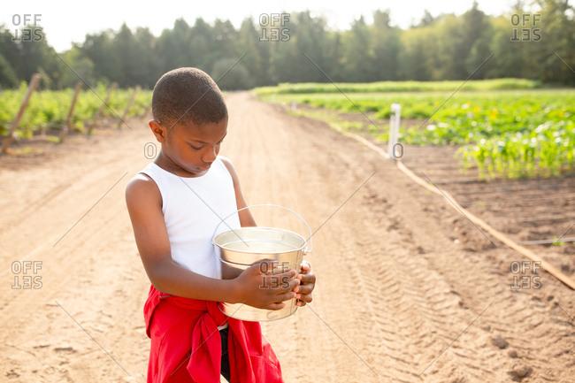 African American boy looking into bucket on a farm