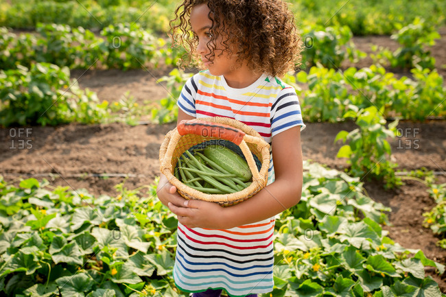 Little girl holding basket with cucumbers and green beans