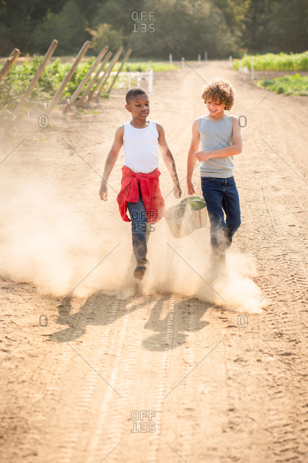 Two boys walking on dusty farm path
