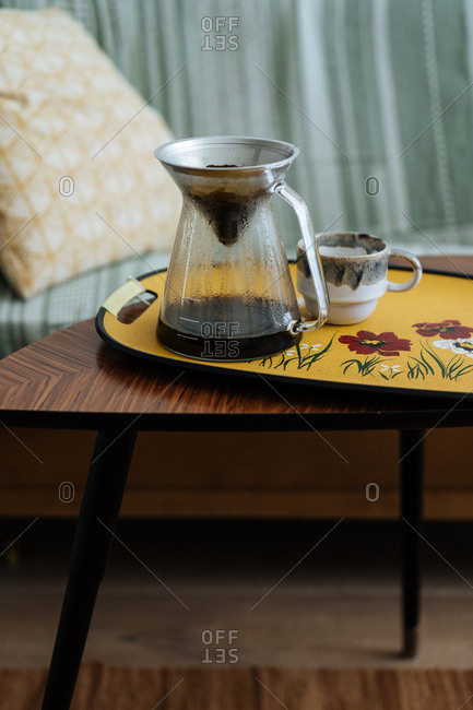 Filter coffee on a coffee table