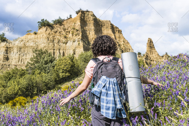 Rear view of woman with backpack walking amidst plants in forest