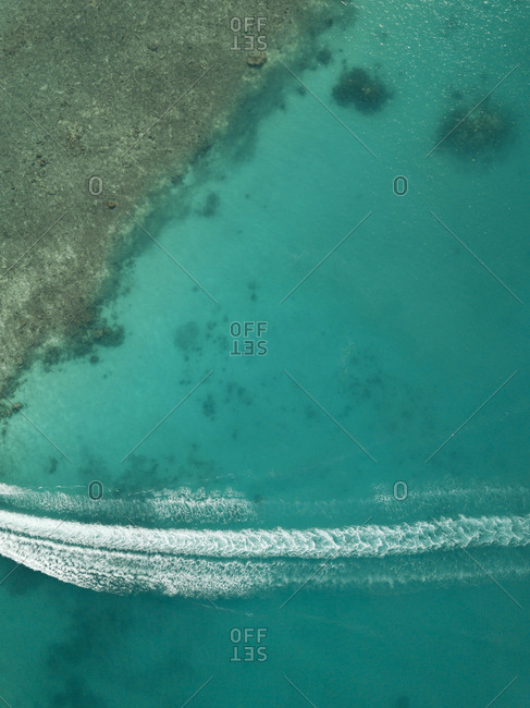 Aerial view of seascape at Maldives during sunny day