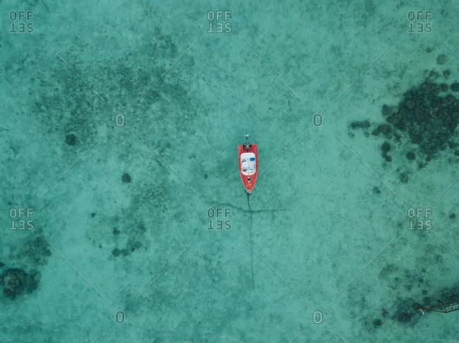 High angle view of boat on sea at Maldives