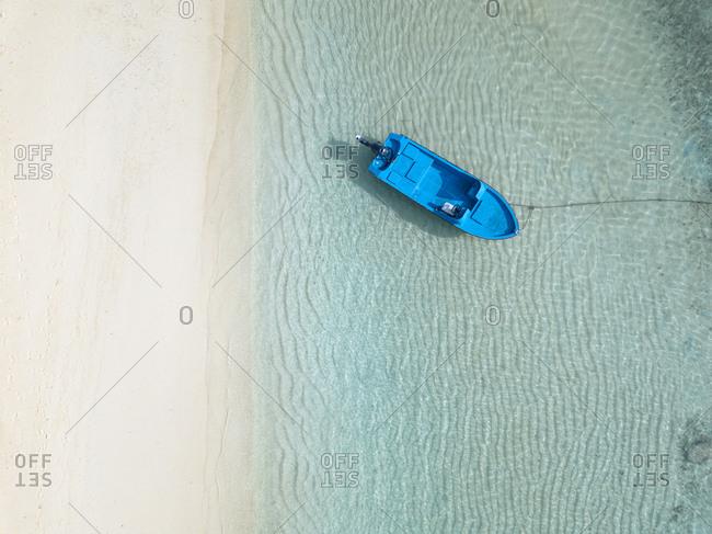 High angle view of boat moored on sea at Maldives