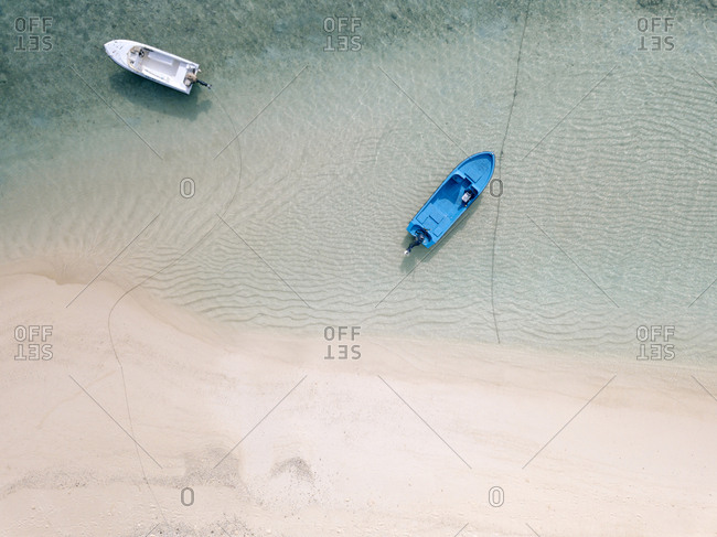 High angle view of boats moored on sea at Maldives
