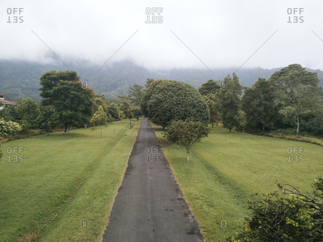 High angle view of empty road amidst grassy field during foggy weather