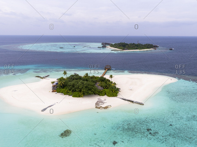 Aerial view of Maldives against sky
