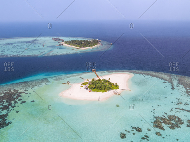 Aerial view of seascape against sky at Maldives