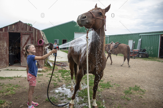 Side view of smiling girl spraying water on horse at barn against cloudy sky