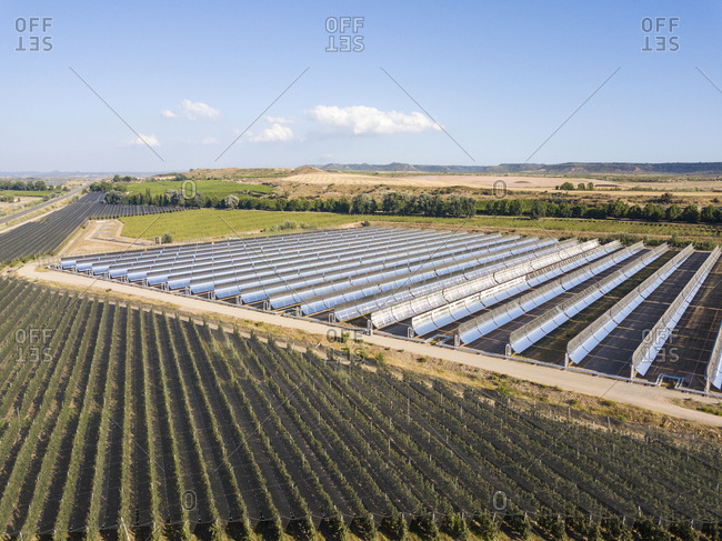 Aerial view of a field of solar cells located in Spain
