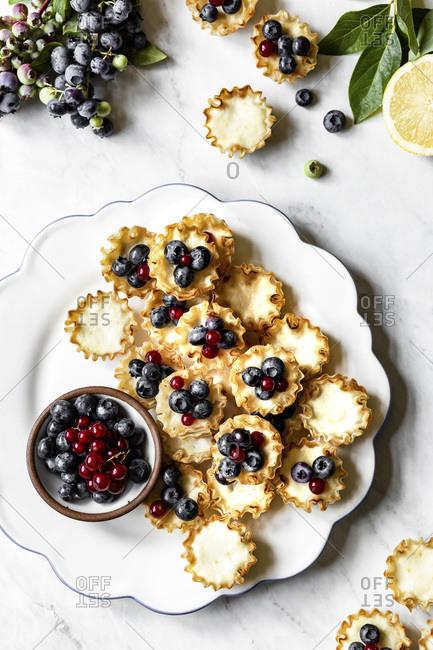 Lemon Blueberry Mini Tarts on a marble background