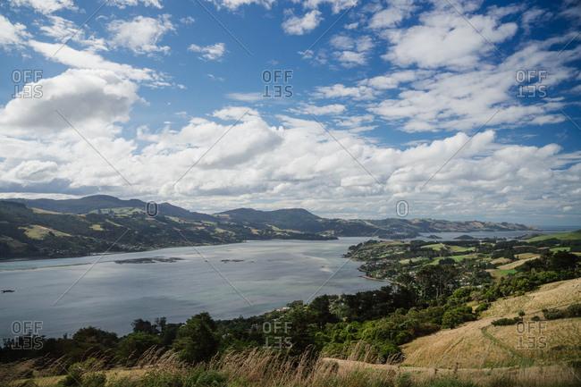 View of Otago harbor in New Zealand