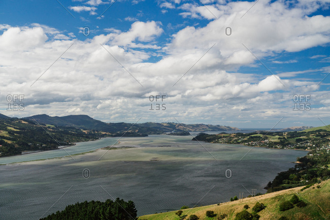 Elevated view of harbor in Dunedin, New Zealand