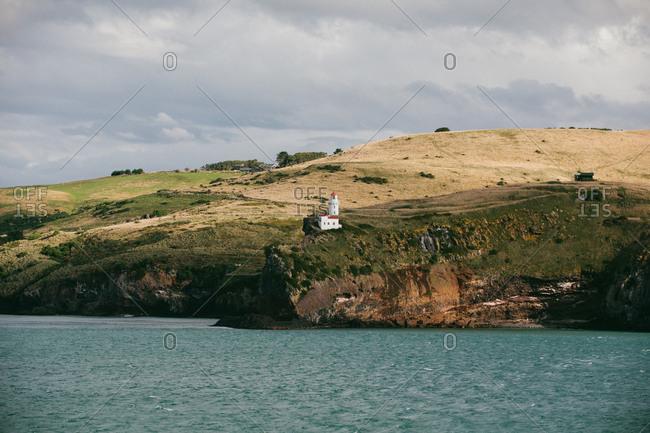Lighthouse on coast of Dunedin, New Zealand