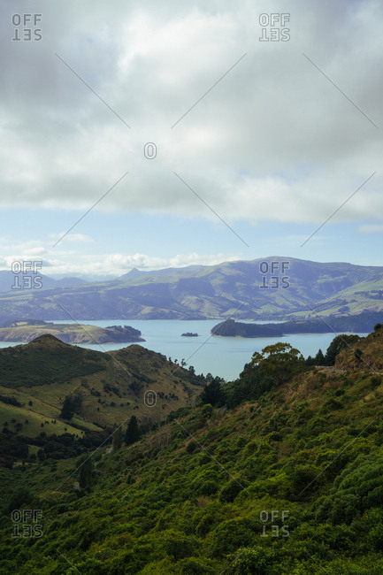 Elevated view over bay of islands in Christchurch, New Zealand
