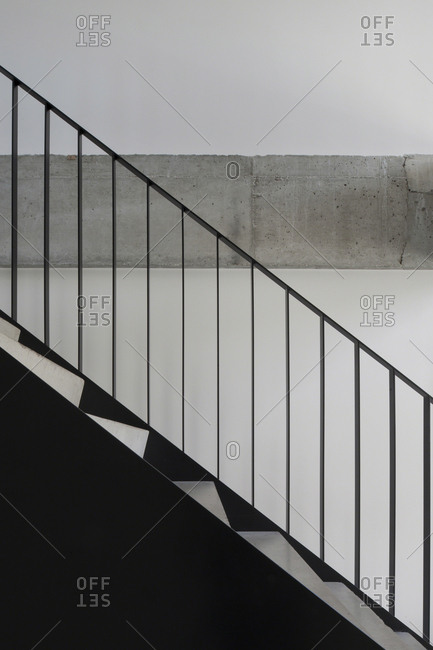 Metal railing on interior stairs