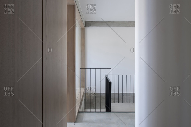 Railing in an office building
