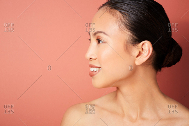 Woman with hair bun