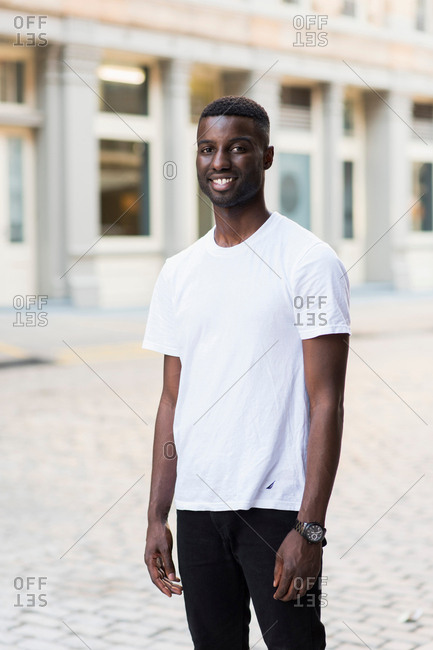 Young man in streets of New York, US