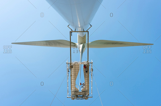 Maintenance work on blades of wind turbine, Biddinghuizen, Flevoland, Netherlands