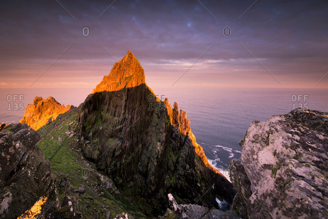 Skellig Michael at sunrise, Portmagee, Kerry, Ireland