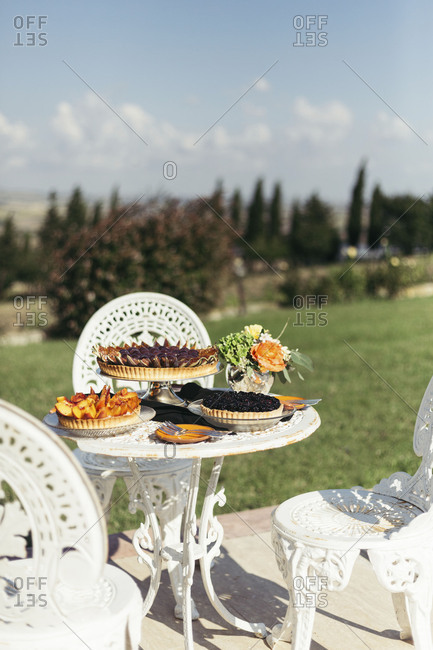 Dessert table and nature view