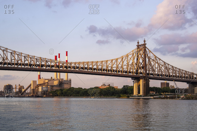 Queensboro Bridge view from Roosevelt Island at sunset