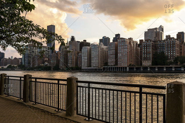 Midtown Manhattan view from Roosevelt Island at sunset