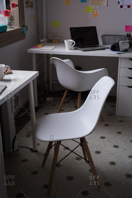 Desk of fashion designer in the office