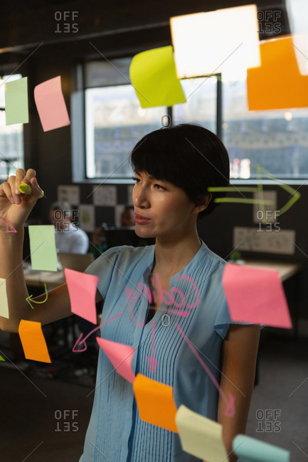 Female executive writing notes on glass wall in office