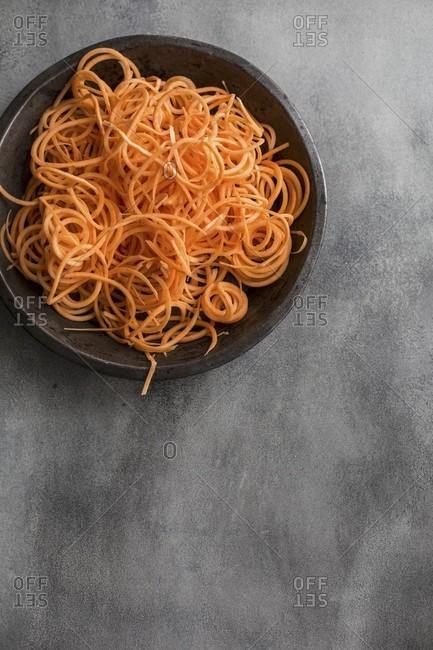 Sweet potato spirals in a bowl